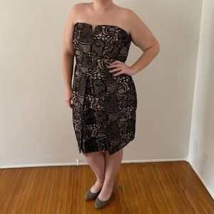 Strapless Black and Tan tulip style dress